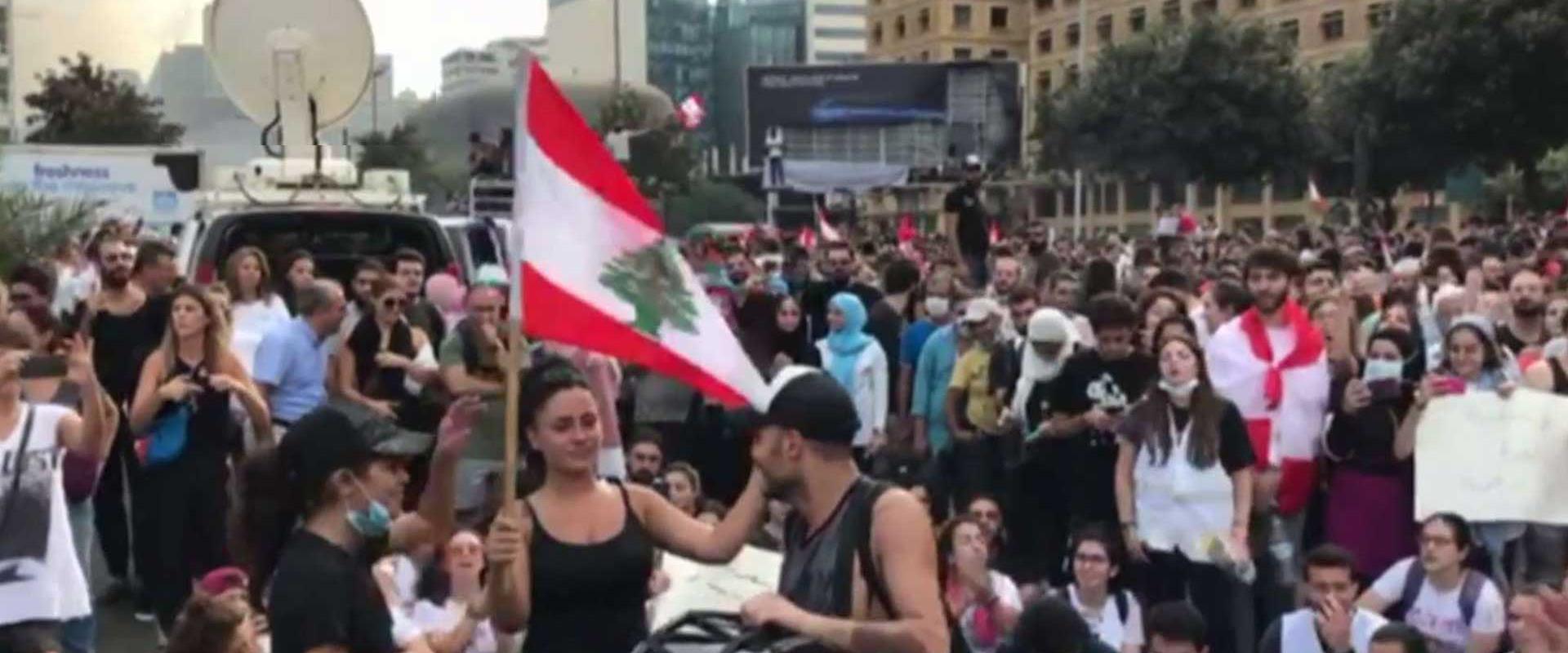 הפגנות בלבנון בהשתתפות נשים
