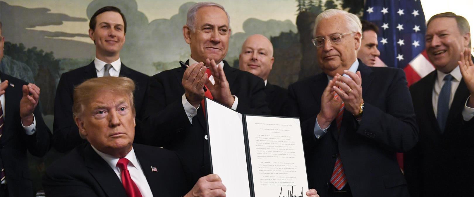 טראמפ ונתניהו במעמד ההכרה בריבונות ישראל בגולן