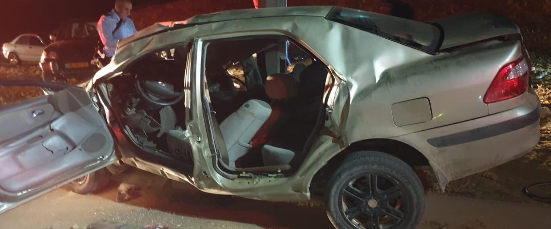 המכונית בה נהרגו שני הצעירים, הערב