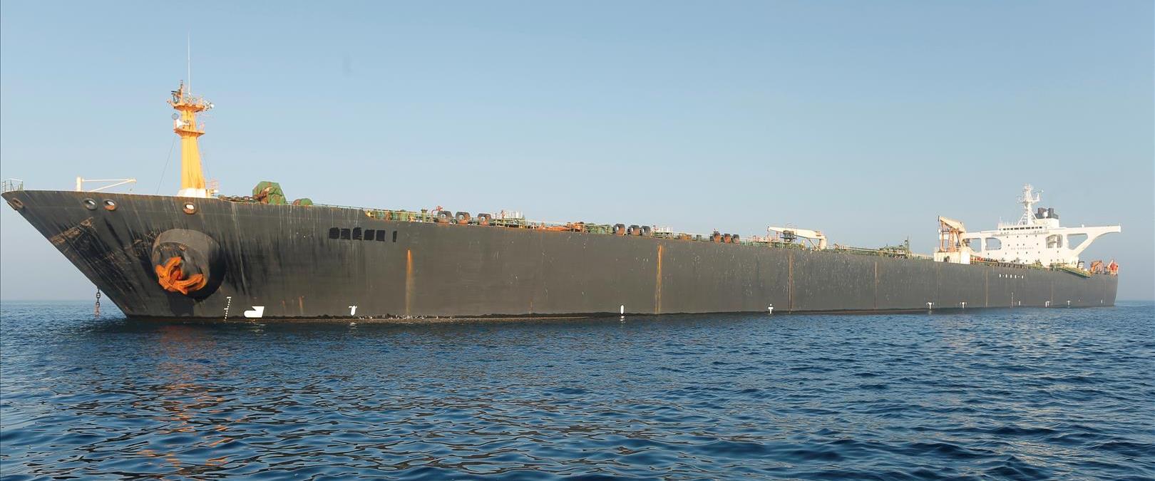 """מכלית הנפט האיראנית """"גרייס 1"""", בשבוע שעבר"""