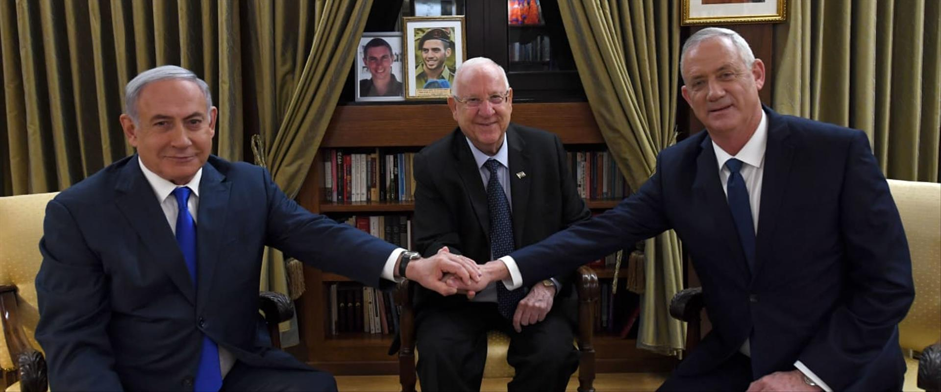 בני גנץ, בנימין נתניהו וראובן ריבלין בפגישה ראשונה