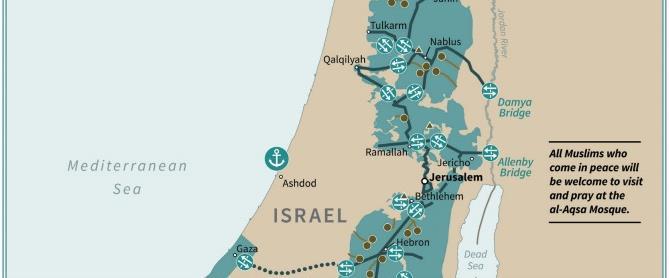 """מפת """"המדינה הפלסטינית העתידית"""" לפי תוכנית טראמפ"""
