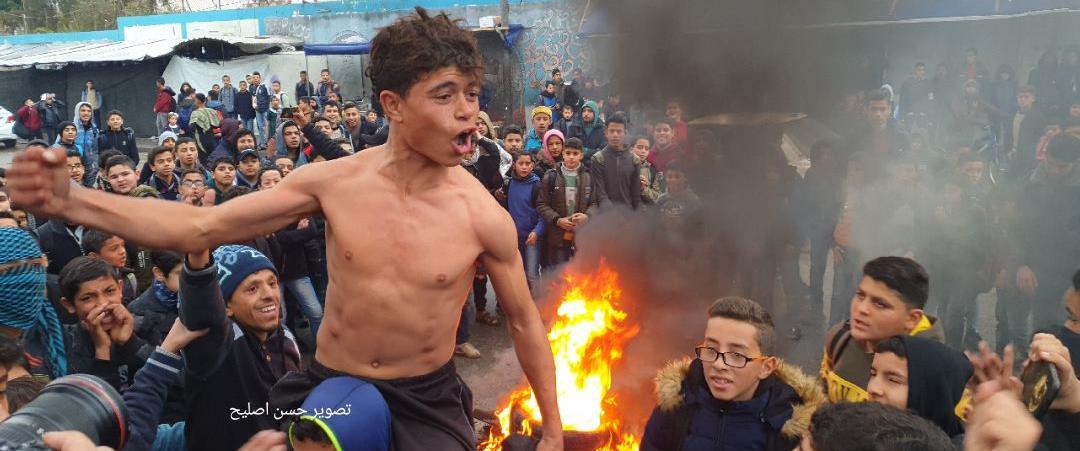 הפגנת תלמידי בית ספר בחאן יונס נגד תוכנית טראמפ, ה