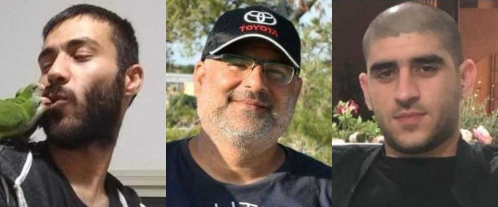 הנרצחים: אמיר אבו חוסיין וקרוביו מוחמד ואחמד שרקיה
