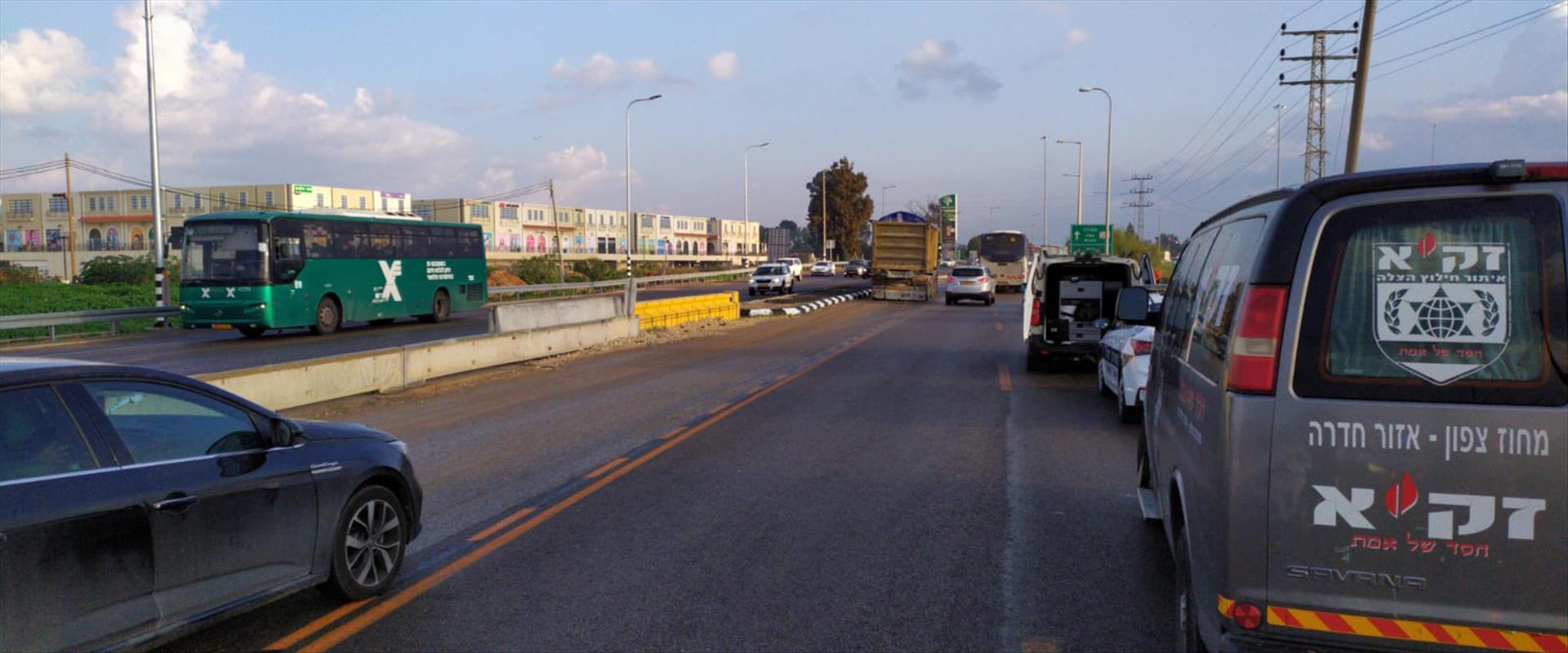זירת התאונה ליד צומת כרכור