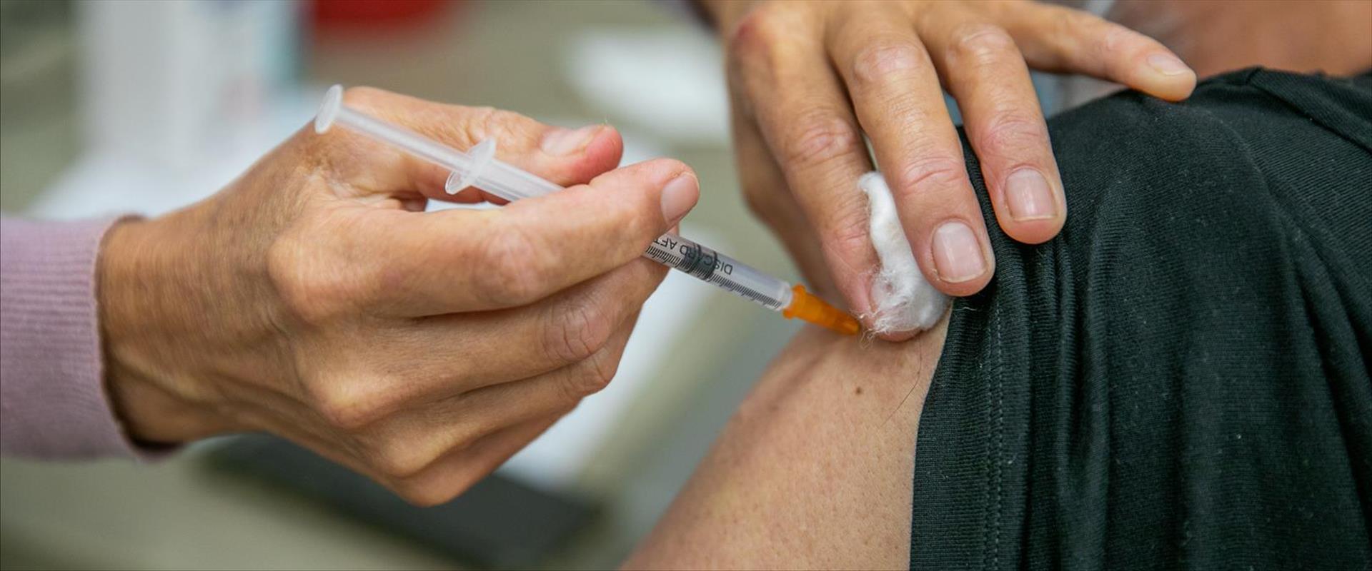 מוקד קבלת חיסונים במודיעין, בשבוע שעבר