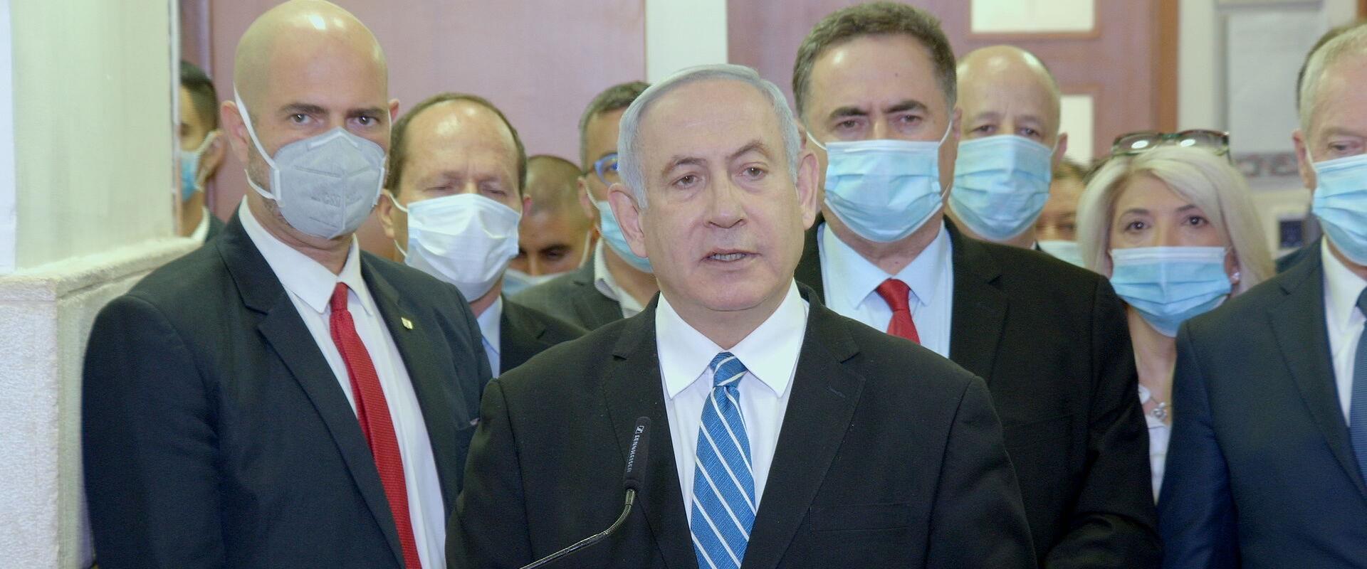משפט נתניהו, ביבי באולם בית המשפט המחוזי ירושלים 2
