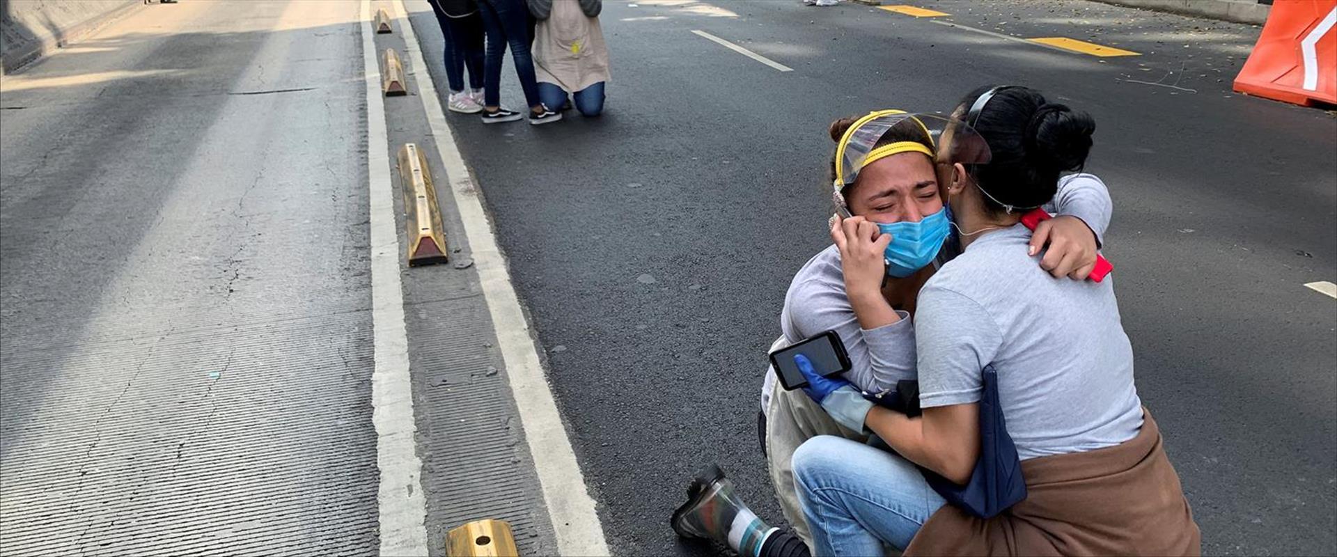 תושבים מבוהלים במקסיקו סיטי בזמן רעידת האדמה, היום