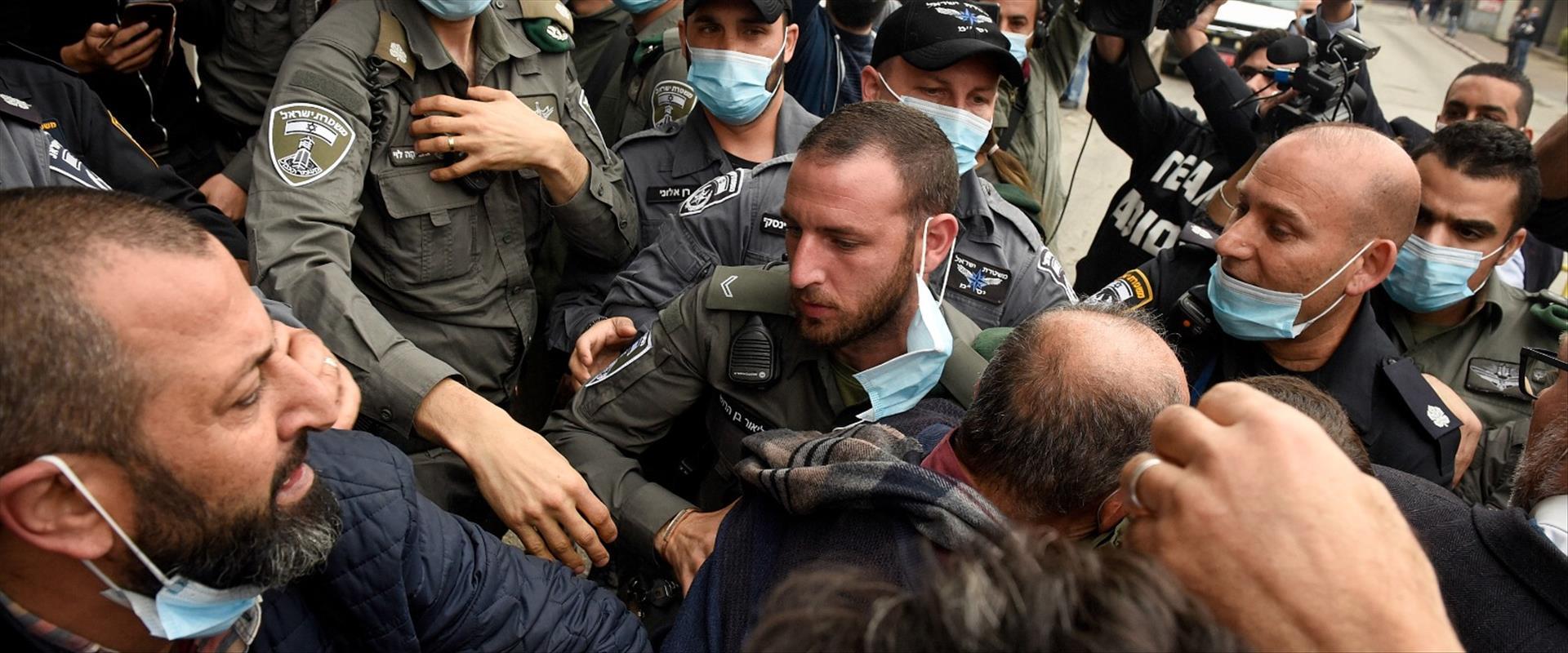 עימותים בהפגנה אתמול לפני הצהרת נתניהו בנצרת
