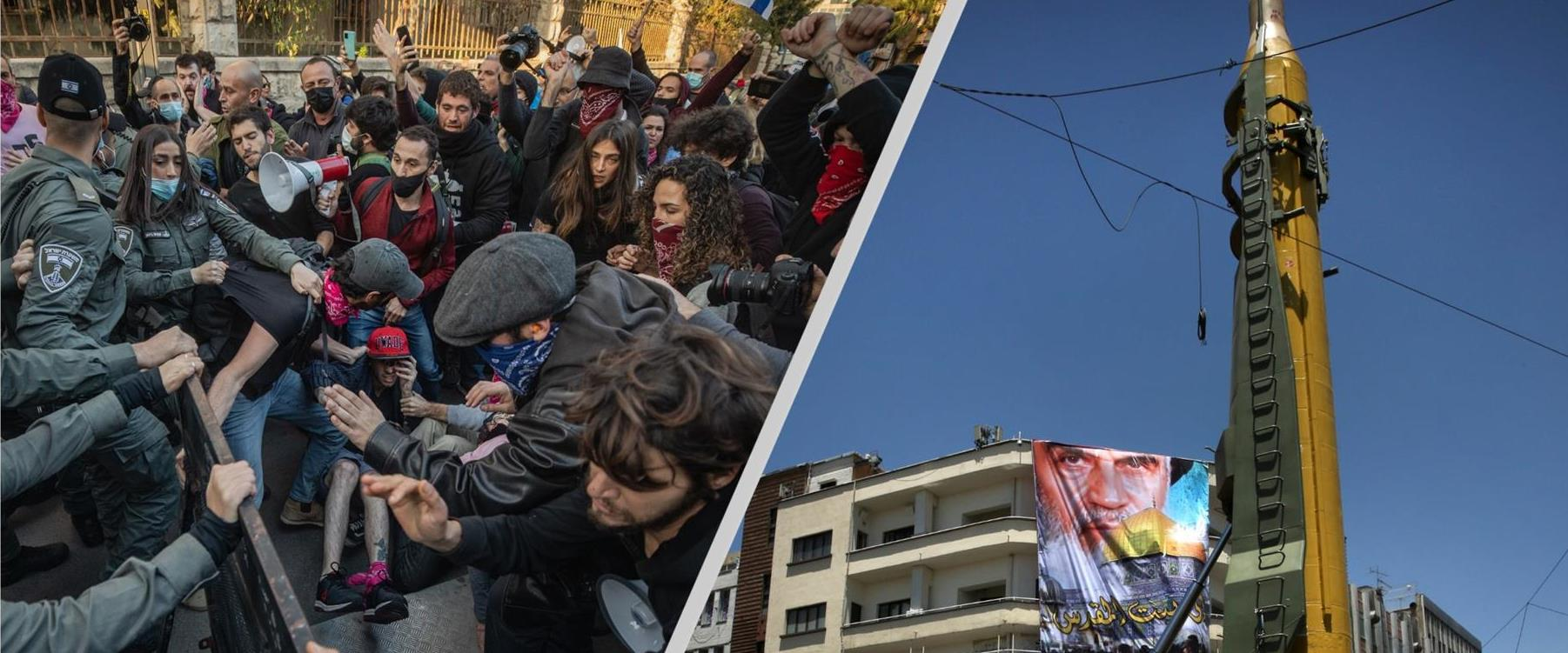 טיל מוצג בתהלוכת יום אל קודס באיראן, עימותים בהפגו