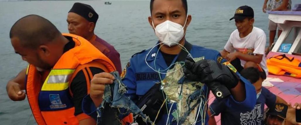 תמונתו מהטלוויזיה האינדונזית של שרידים באזור שבו כ