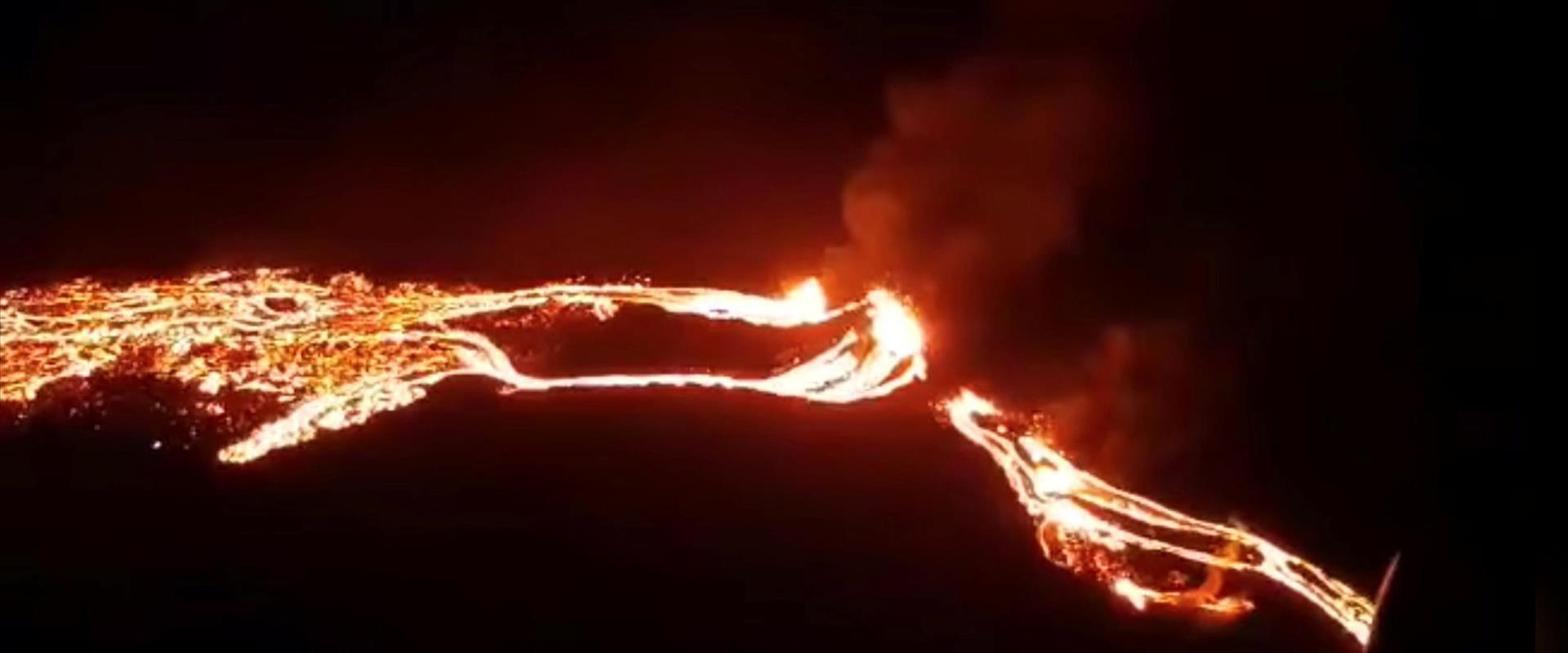 התפרצות הר הגעש פאגראדלס באיסלנד, הלילה