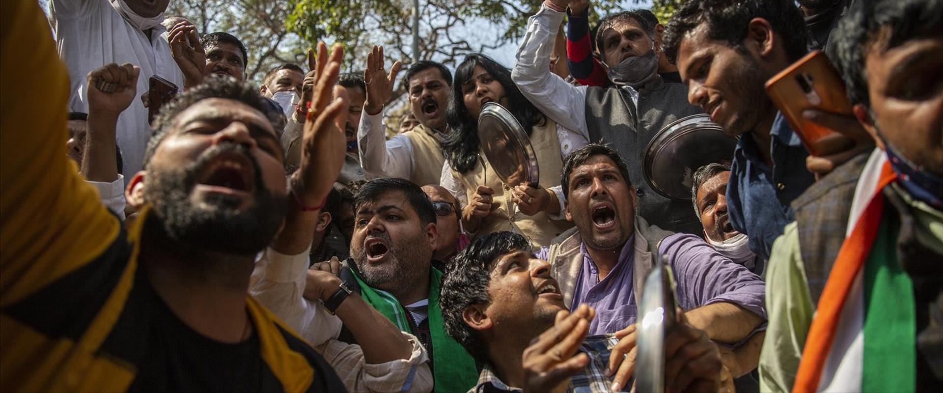 פעילי מחאת החקלאים בהודו