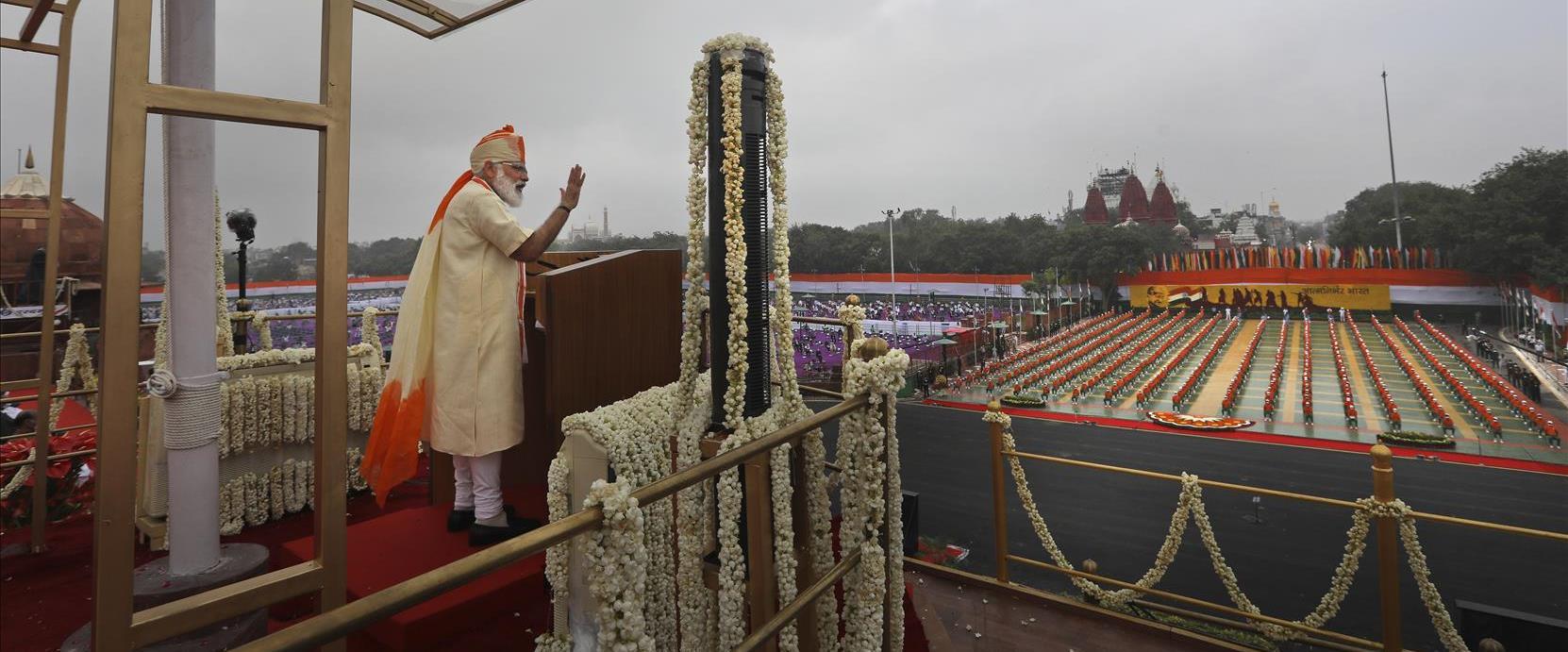 ראש ממשלת הודו מודי בעצרת בחירות, מארס 2021