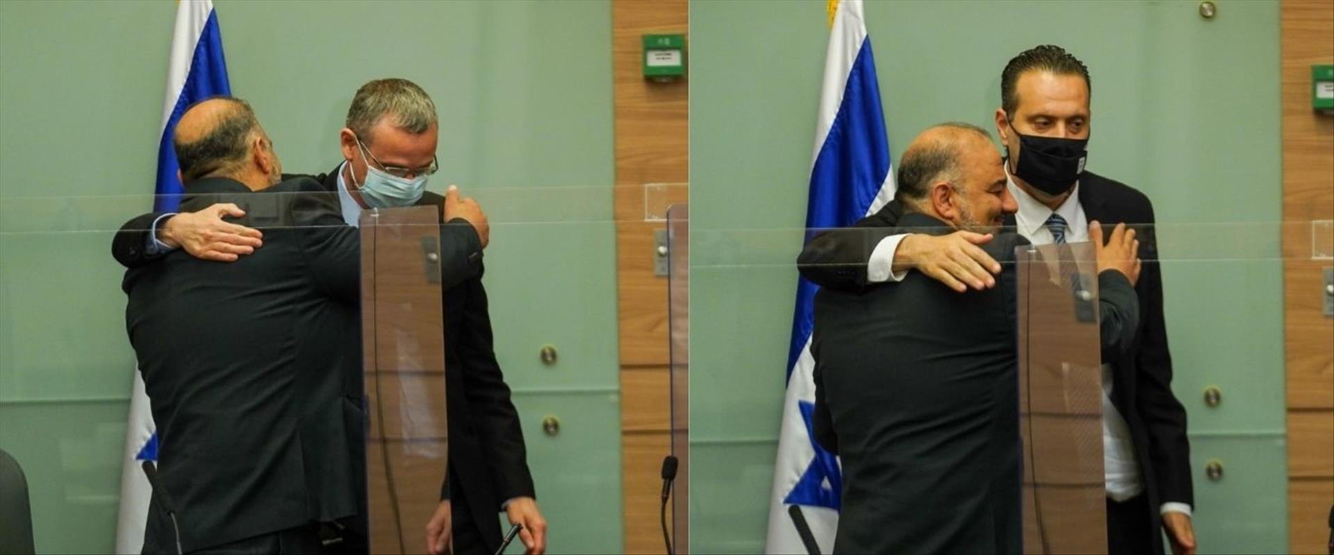 """עבאס מתחבק עם זוהר ולוין אחרי בחירתו ליו""""ר הוועדה"""