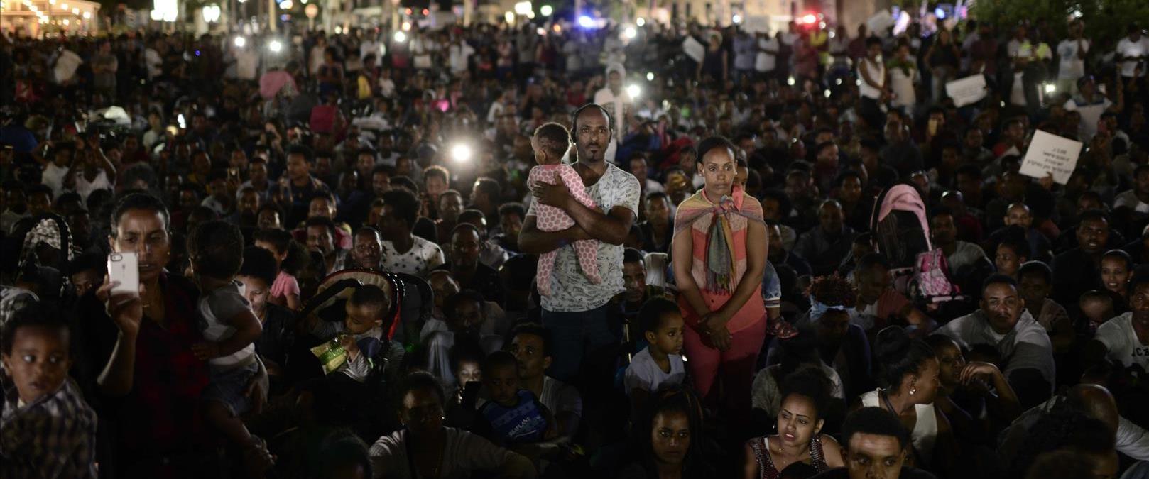 מהגרים מאפריקה מפגינים בתל אביב ב-2017