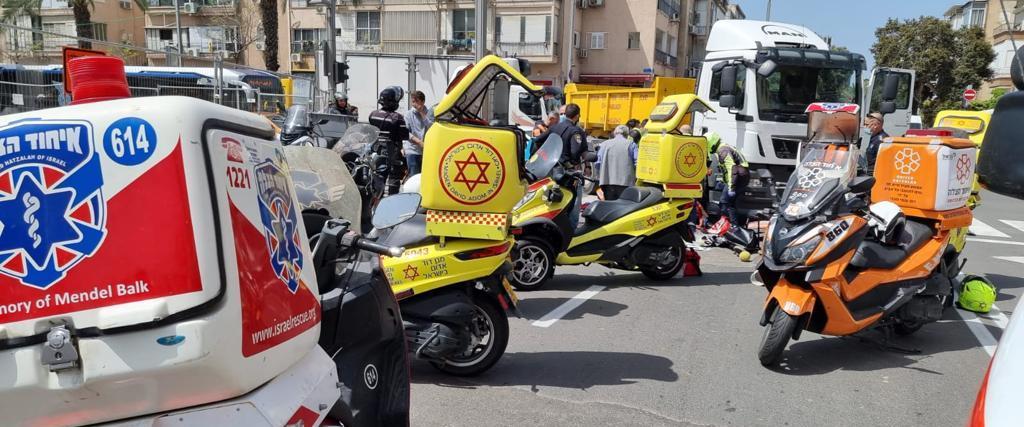 זירת התאונה בתל אביב