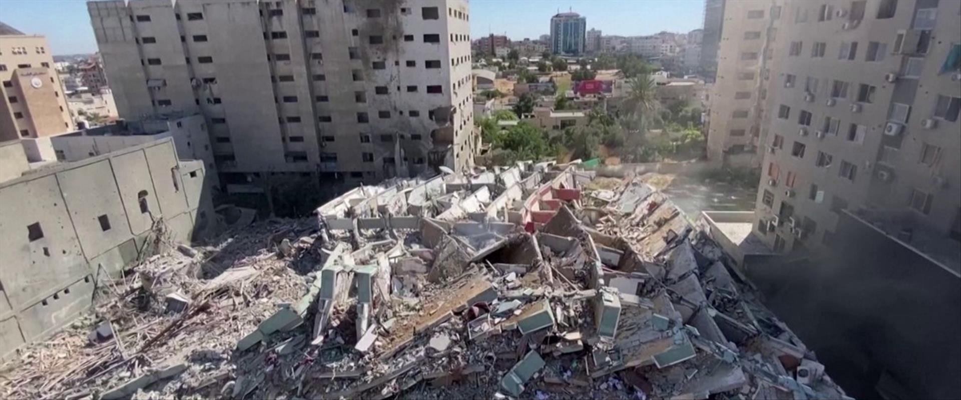 """בניין התקשורת בעזה שצה""""ל תקף"""