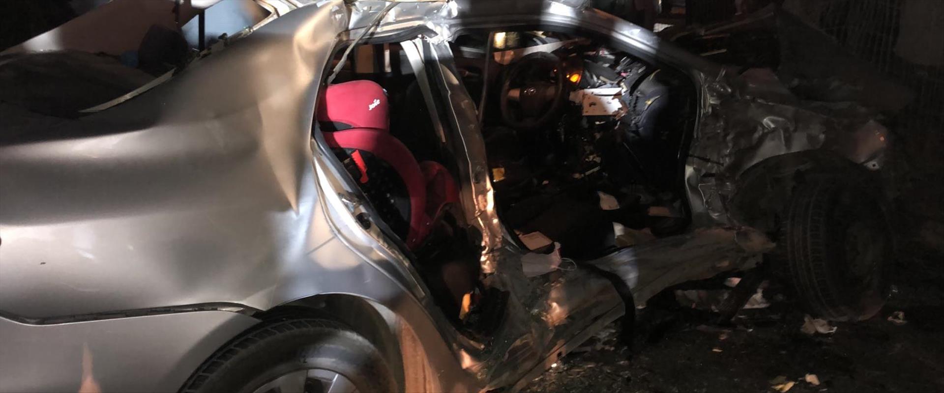 זירת התאונה בכביש 65 , הלילה