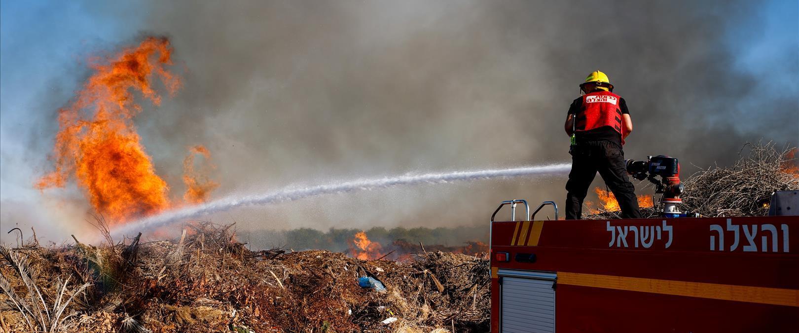שריפה ביער ליד כפר עזה, אתמול