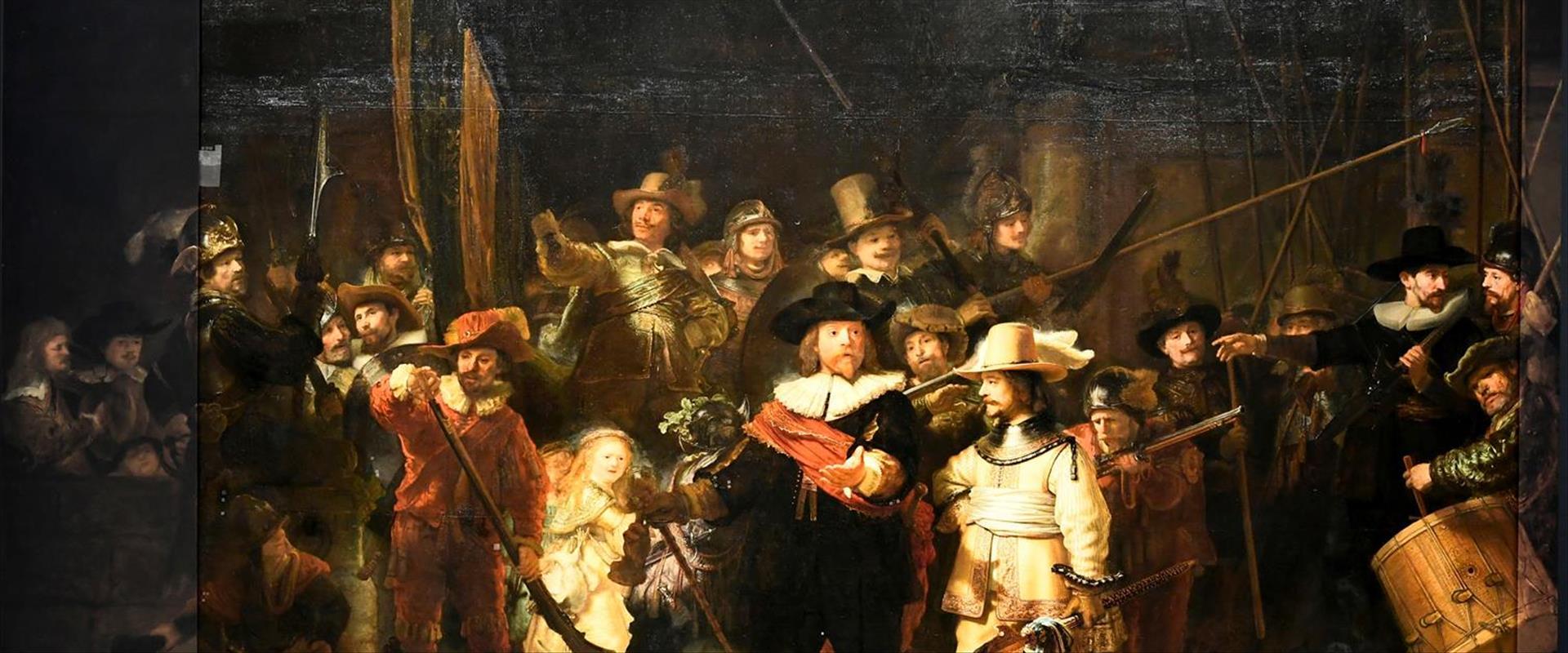 """""""משמר הלילה"""" המשוחזר במוזיאון הלאומי של הולנד, היו"""