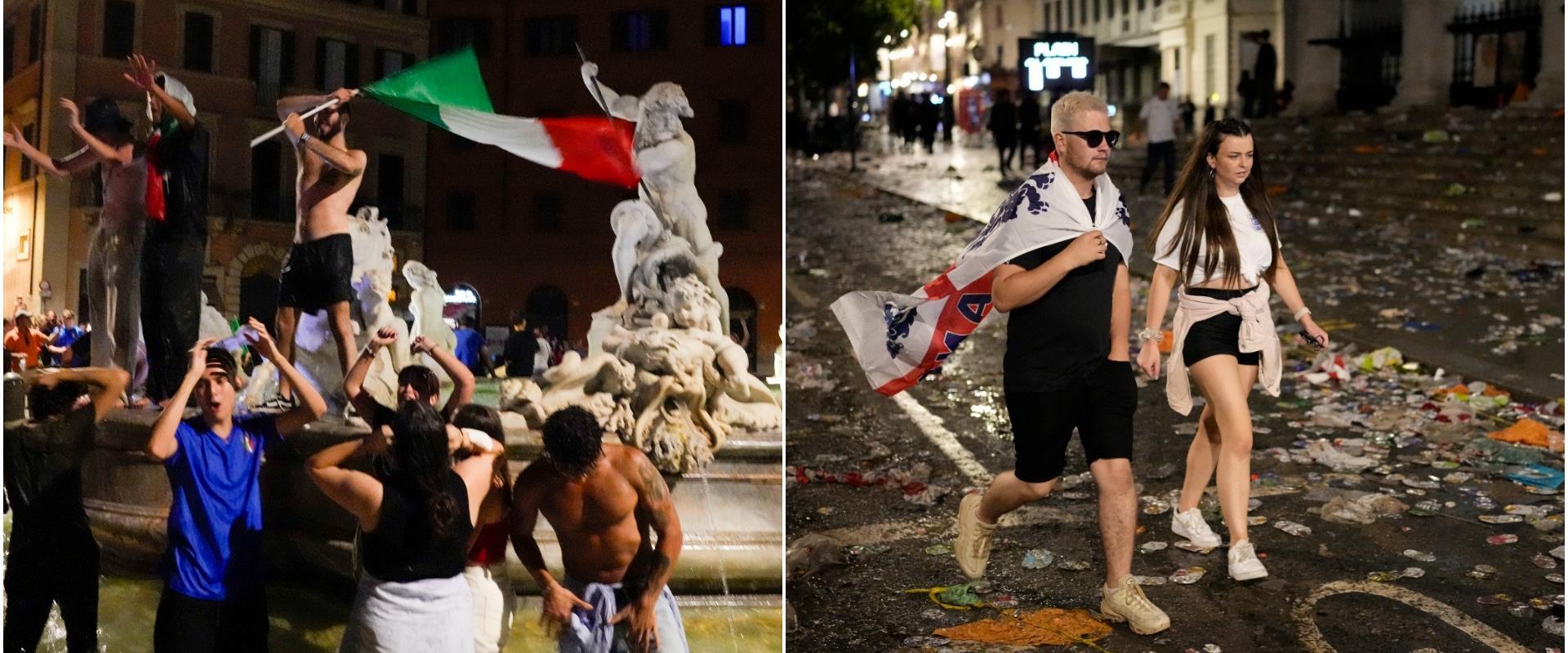 אוהדים איטלקים חוגגים ברומא לצד אוהדים אנגלים מאוכ