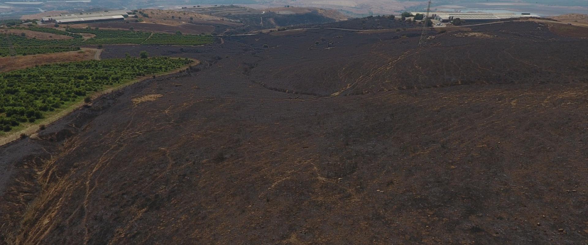 נזקי השריפות בגליל התחתון ובגולן