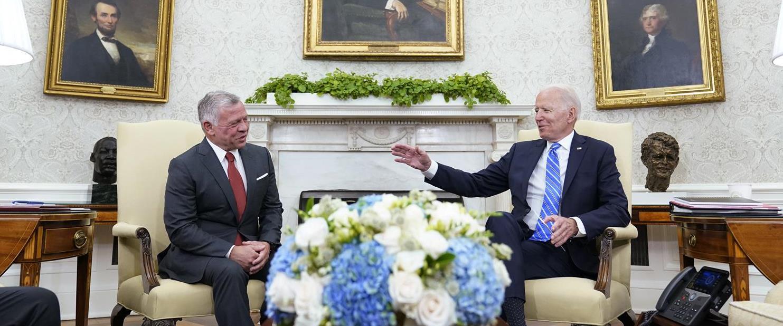 """נשיא ארה""""ב ג'ו ביידן ומלך ירדן עבדאללה"""