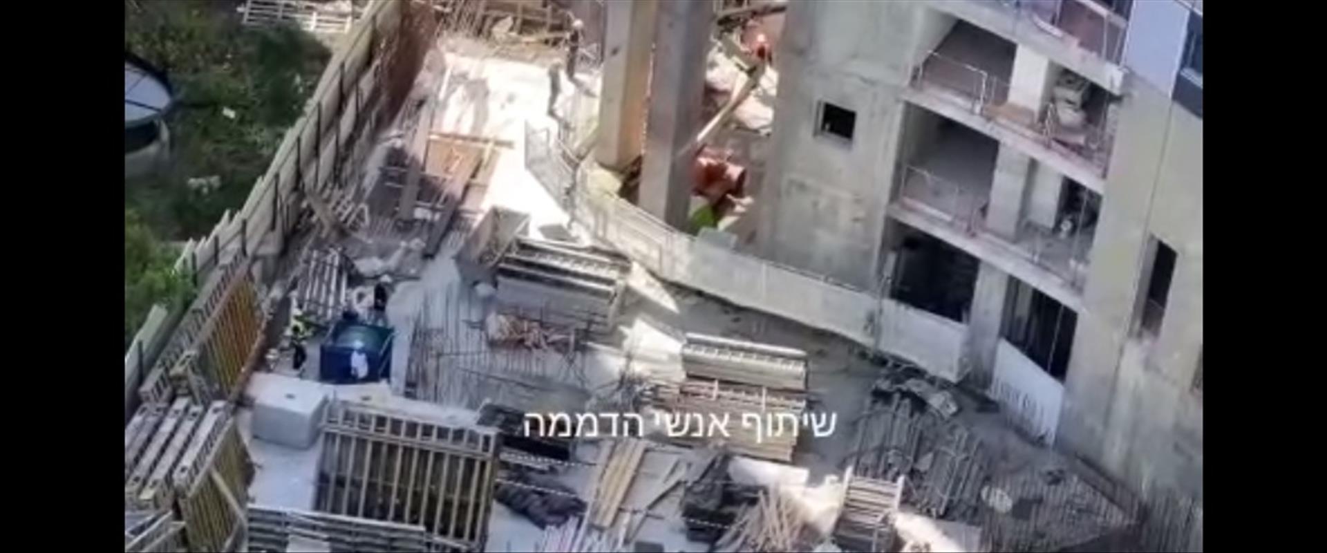זירת תאונת העבודה בתל אביב, היום