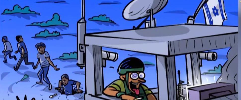 קריקטורה של בריחת המחבלים מכלא גלבוע