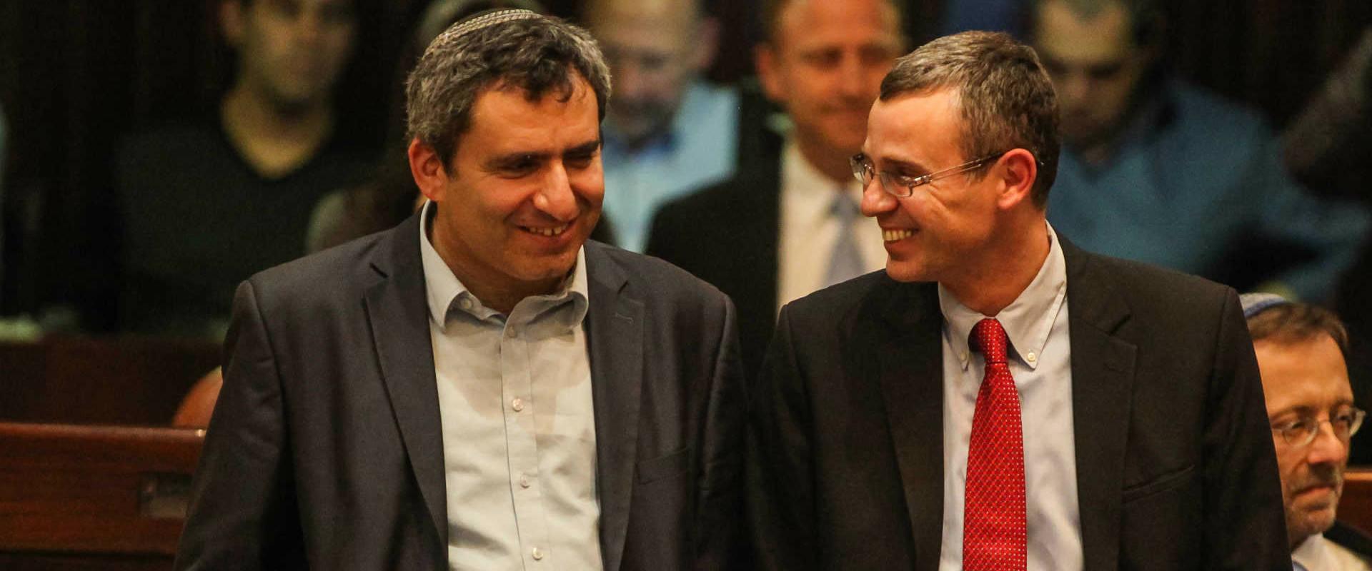 """מימין: יריב לוין וזאב אלקין. מתנגדים לשקיפות בקק""""ל"""