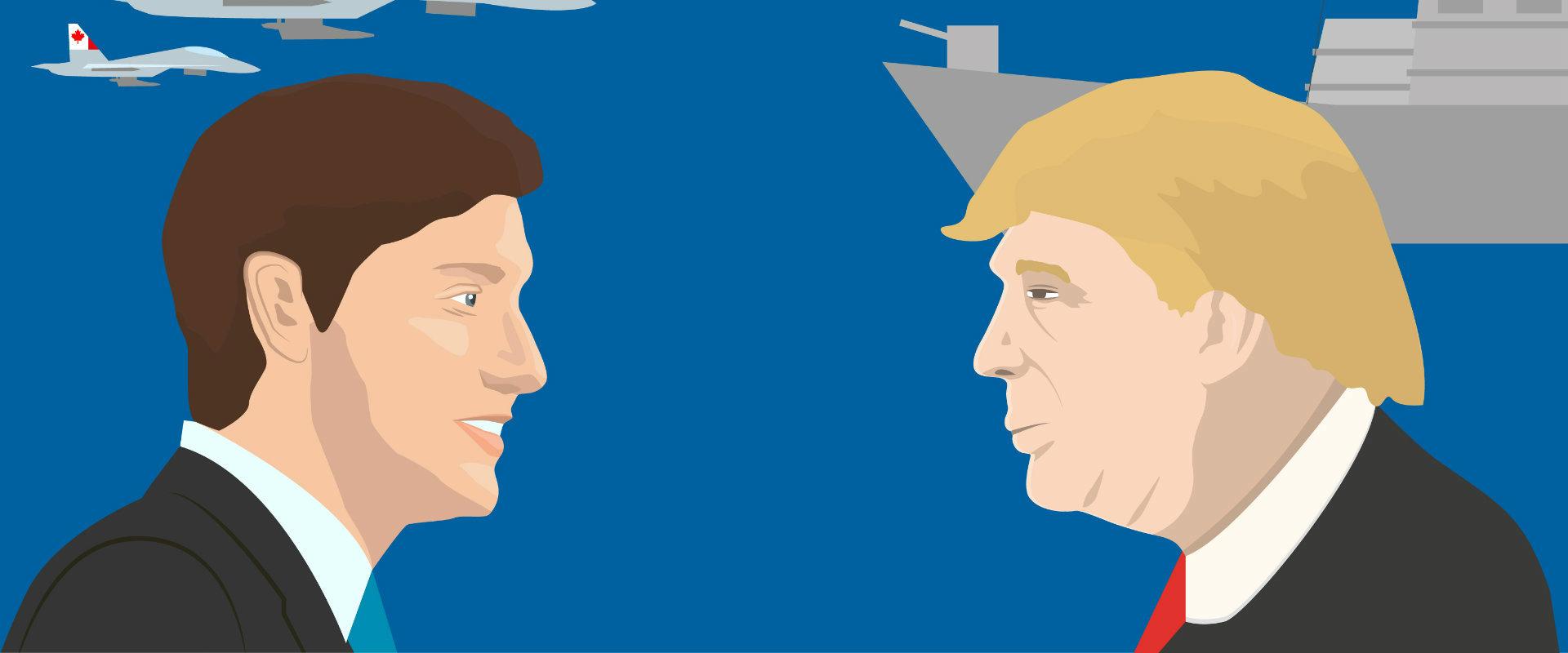 דונלד טראמפ מול ג'סטין טרודו