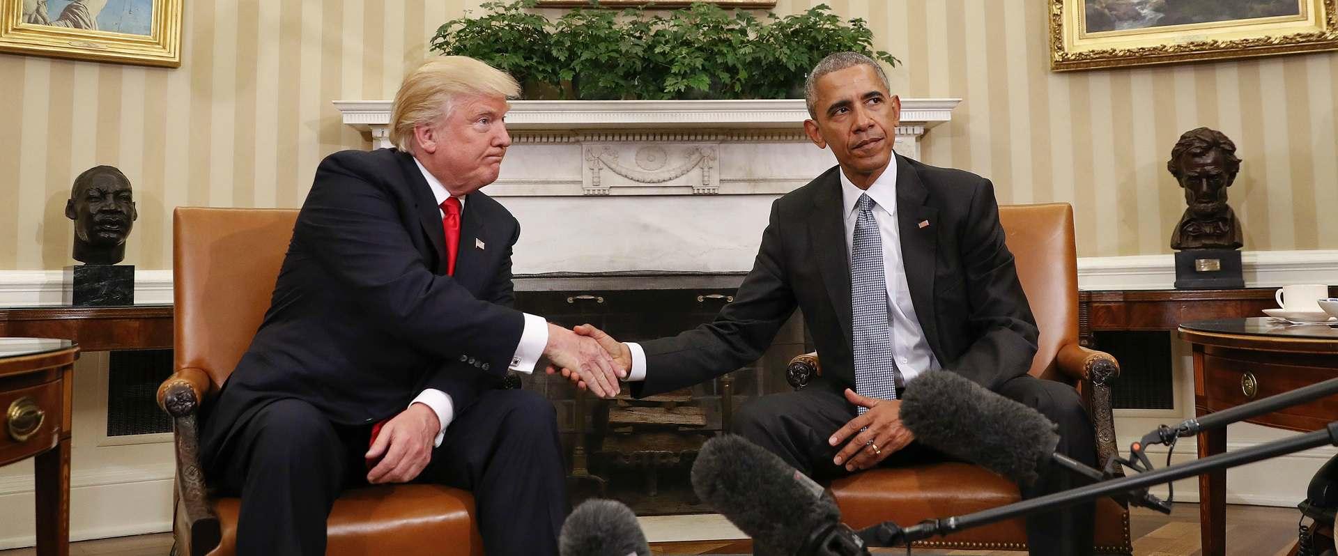 אובמה וטראמפ בפגישתם בנובמבר 2016