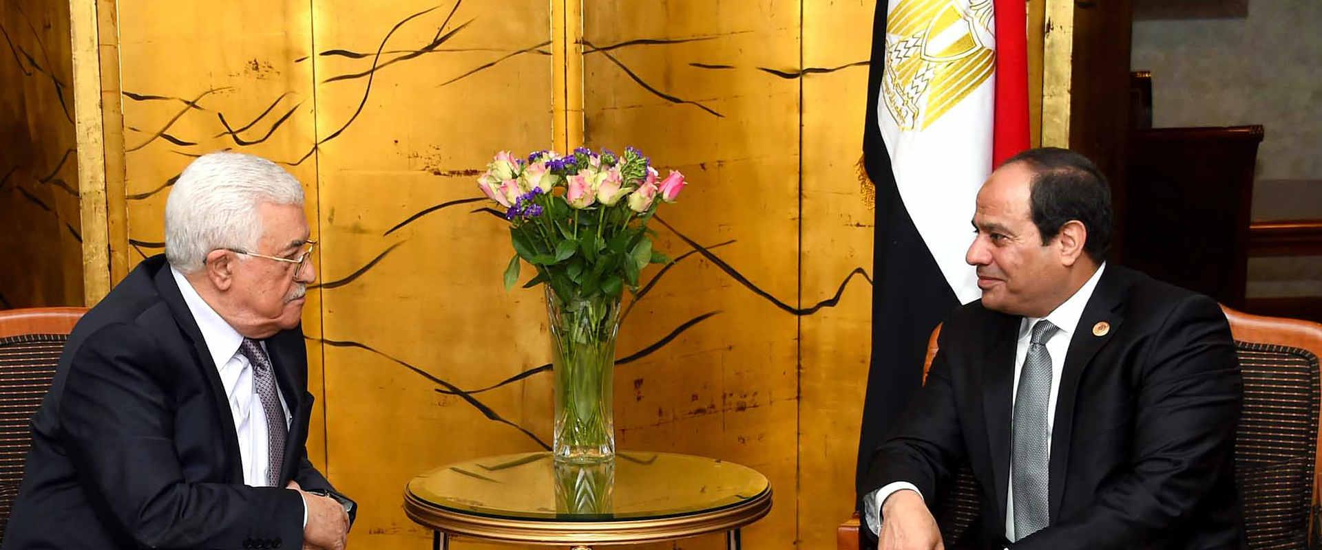 אבו מאזן וא-סיסי במפגש שנערך בינואר 2016