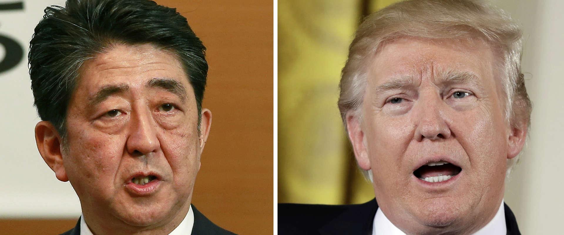 נשיא ארצות הברית דונלד טראמפ וראש ממשלת יפן שינזו