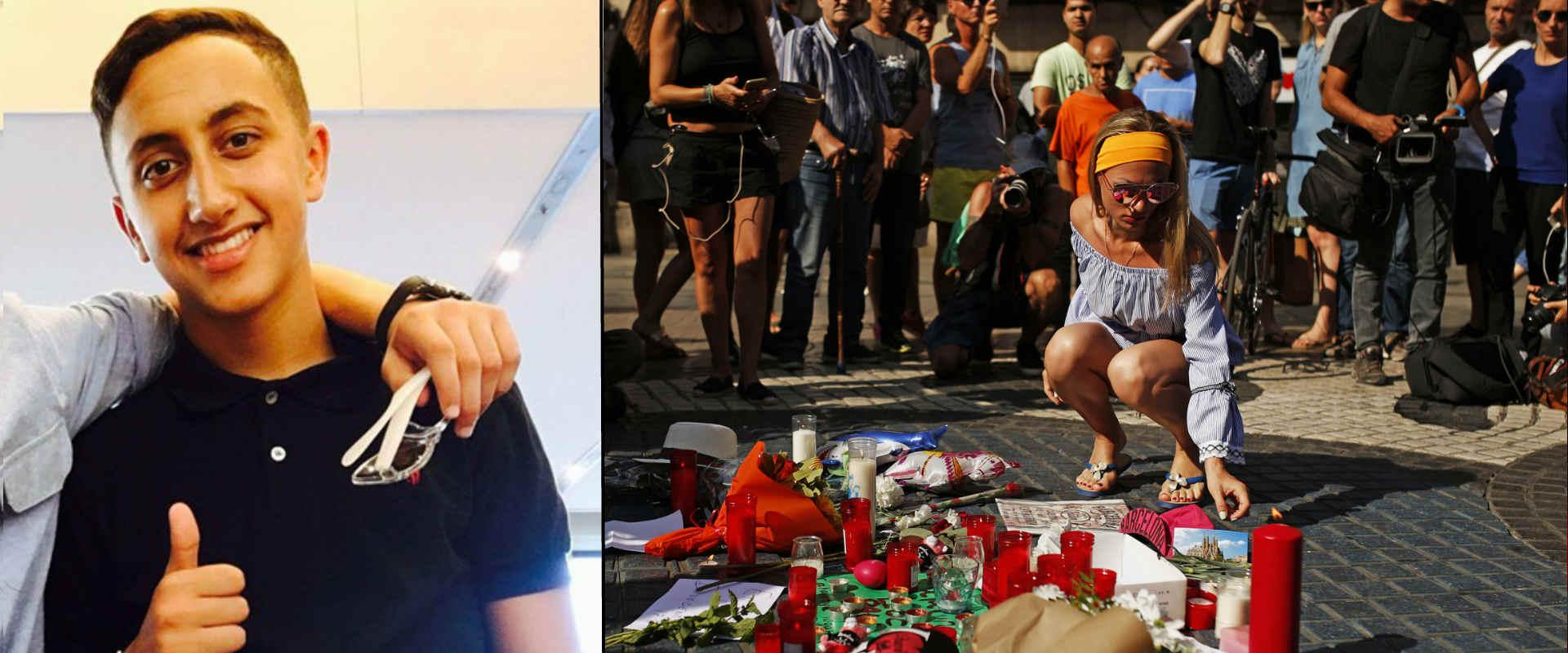 מימין: מתאבלים בברצלונה, היום. משמאל: מוסא עוקאביר