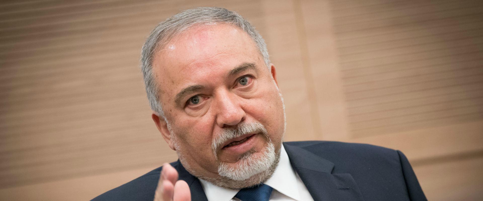 שר הביטחון אביגדור ליברמן בדיון בכנסת