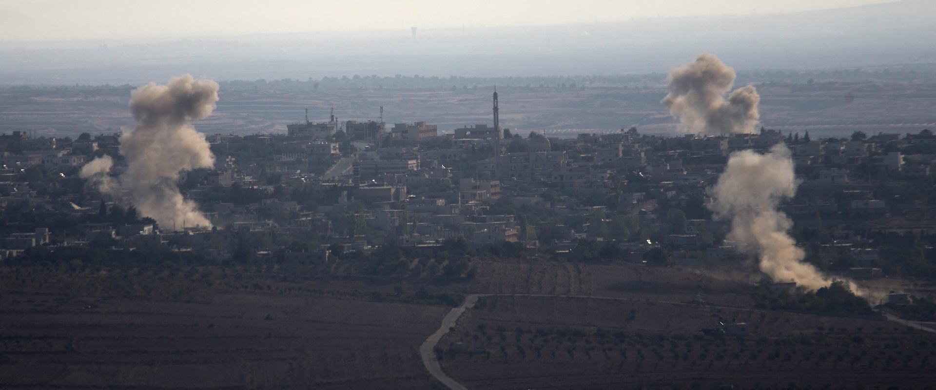 ירי בלחמת האזרחים בסוריה שנראה מרמת הגולן
