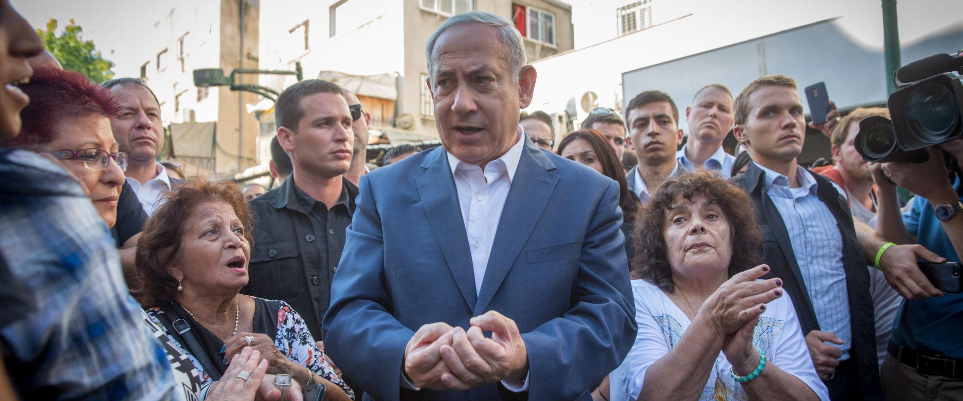 ראש הממשלה בנימין נתניהו בביקורו בדרום תל אביב