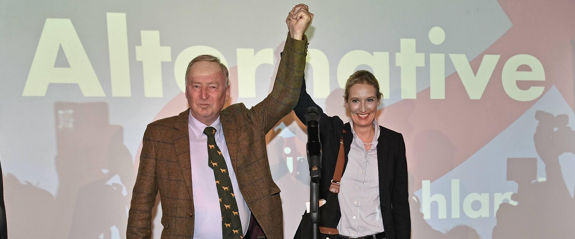מנהיגי המפלגה אליס ויידל ואלכסנדר גאולנד, אמש בברל