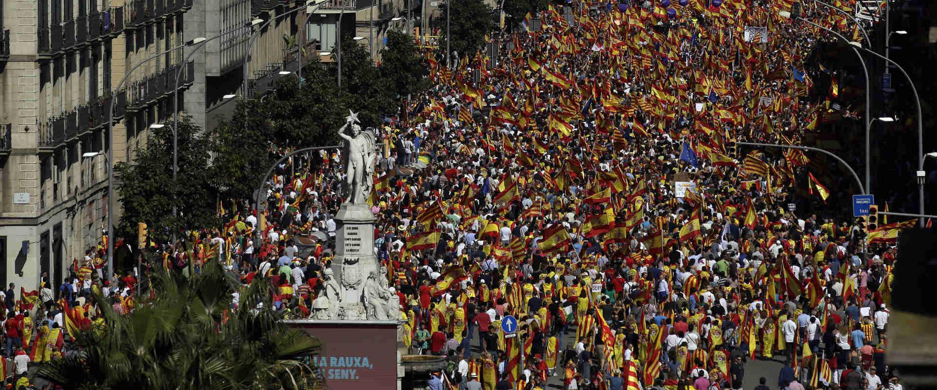 ההפגנה של מתנגדי העצמאות במרכז ברצלונה