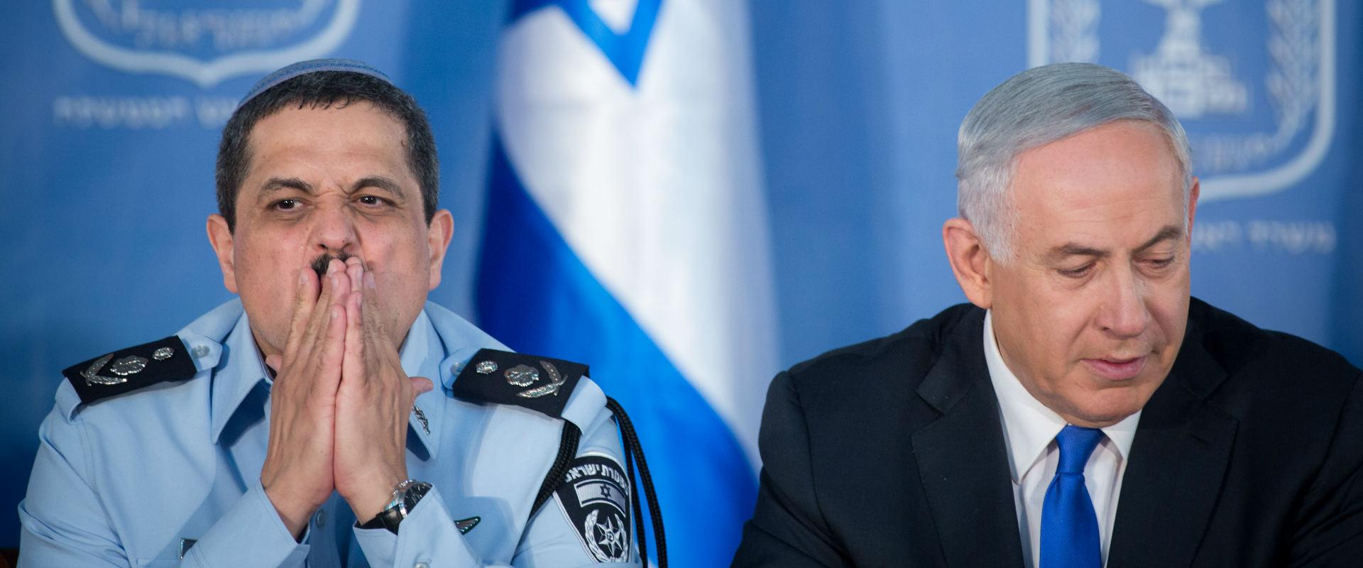 """ראש הממשלה בנימין נתניהו עם המפכ""""ל רוני אלשיך"""
