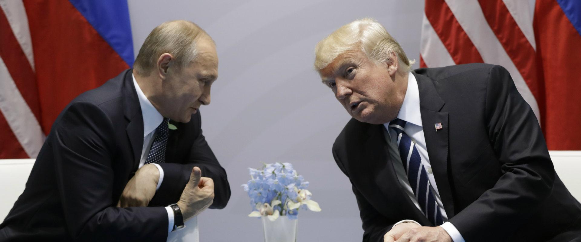 מימין: נשיא ארצות הברית טראמפ ונשיא רוסיה פוטין