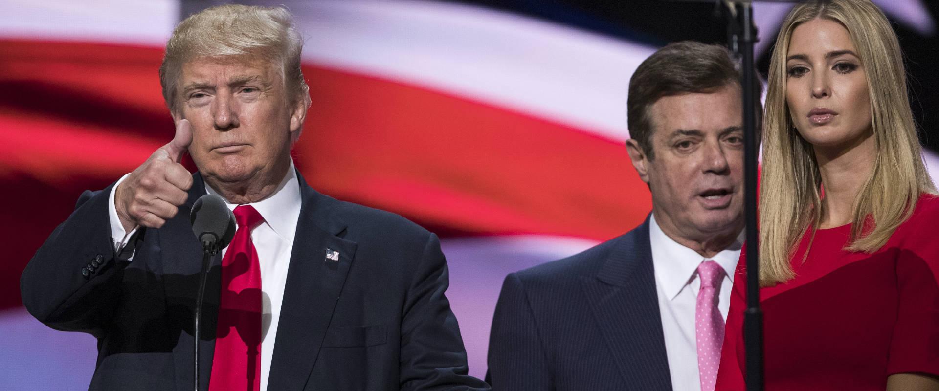 דונלד טראמפ ופול מנפורט במהלך קמפיין הבחירות
