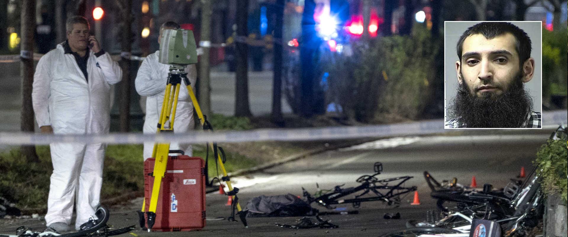 זירת הפיגוע במנהטן ותמונת המחבל סאייפולו סייפוב