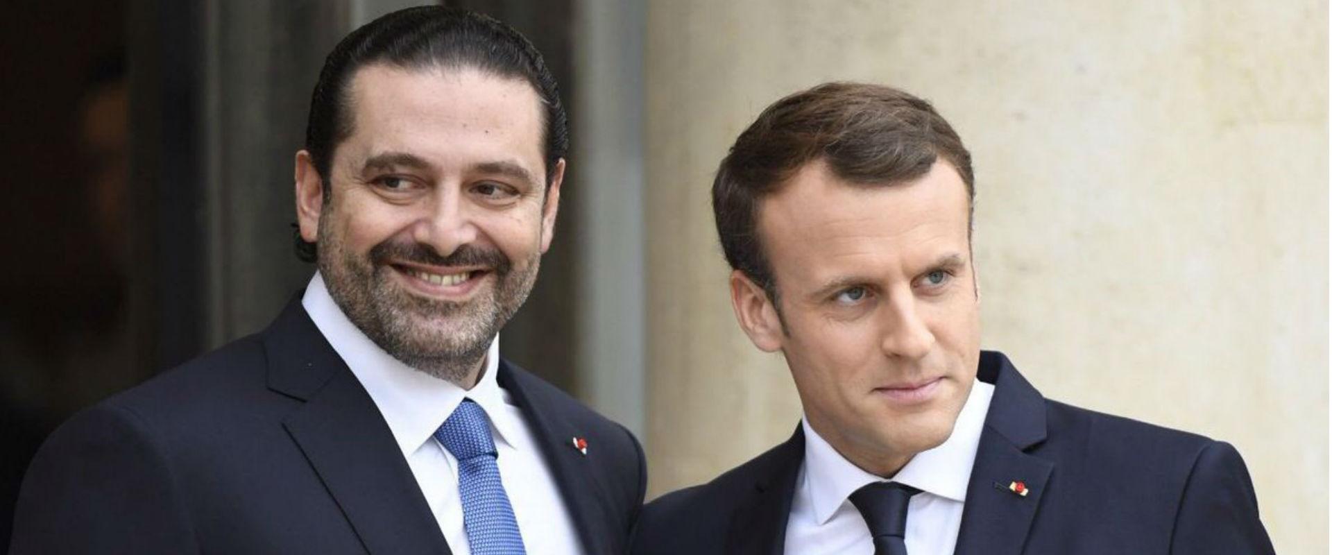 ראש ממשלת לבנון המתפטר סעד אל-חרירי ונשיא צרפת עמנ