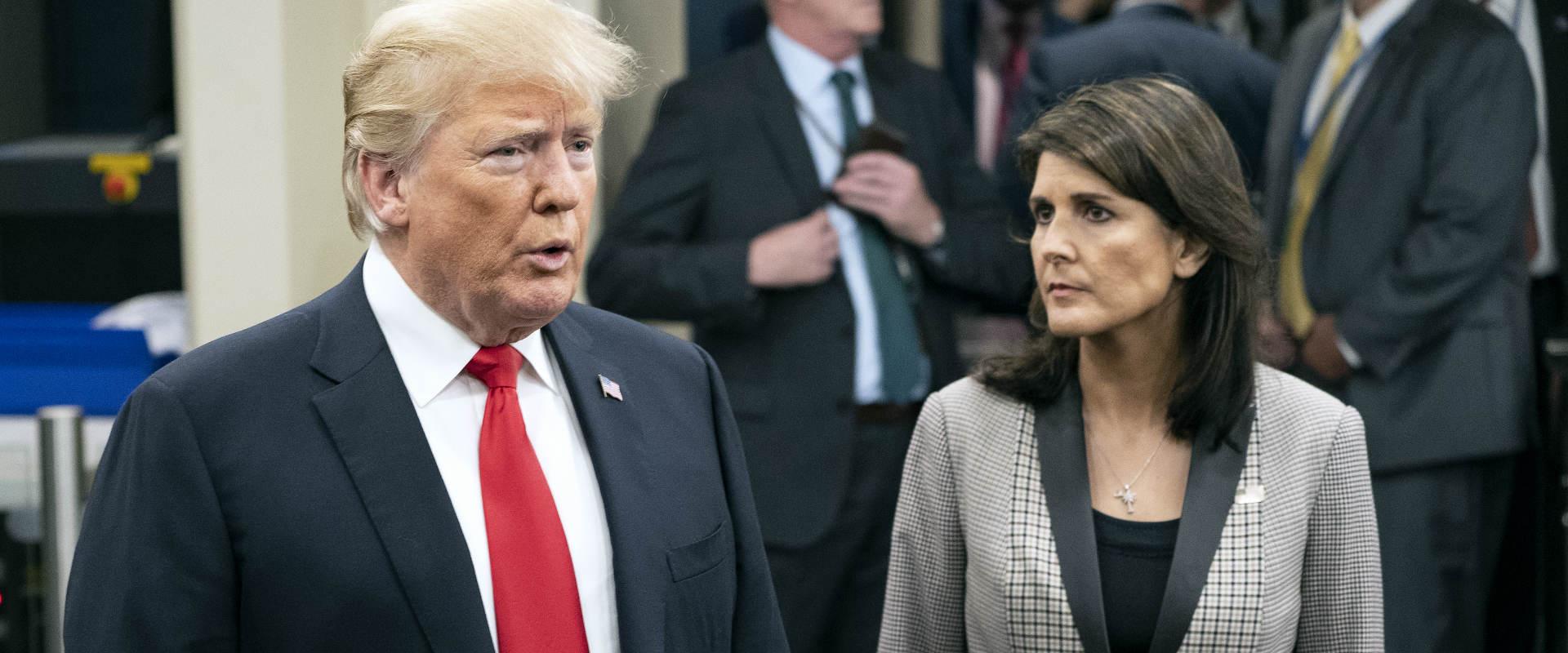 """היילי וטראמפ בעצרת האו""""ם בניו יורק, בחודש שעבר"""