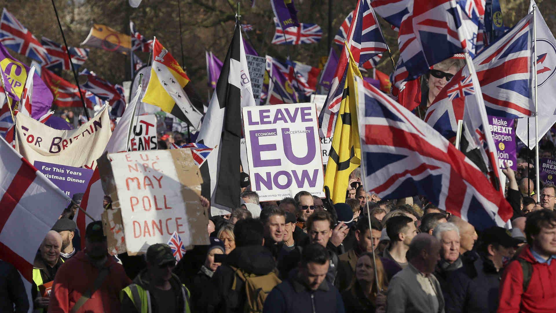 מחאה בבריטניה בעד הסכם הברקזיט